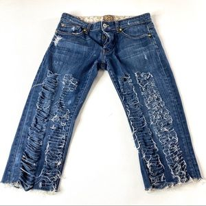 Rich & Skinny Shredded Distressed Cropped Jeans 29